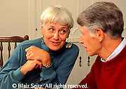 Active Aging Senior Citizens, Retired, Activities, Caucasian Couple in Active Conversation,