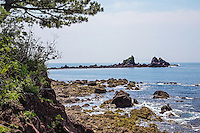 """Manazuru Hanto Peninsula protrudes into Sagami Bay. Its  distinctive shape make it a popular spot for fishing and diving. The forest that occupies the southern part of the peninsula adds a dash of untouched nature, rare in this part of Japan.  Cape Manazuru was formed on the edge of the Manazuru-hanto Peninsula when lava from Hakone Volcano plunged into Sagami Bay and solidified. There are three peculiar-looking rocks projecting out of the sea by the edge of Cape Manazuru. They are called Mitsuishi """"three rock"""" and are defining features of Cape Manazuru."""