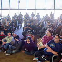 An over-capacity crowd packs a classroom for a special bigfoot lecture at UNM-Gallup Thursday. The unexpected turnout forced the event to be moved to a larger venue across campus.