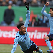 NEW YORK, NEW YORK - March 18: Rodney Wallace #23 of New York City FC and David Villa #7 of New York City FC appeal for hand ball during the New York City FC Vs Montreal Impact regular season MLS game at Yankee Stadium on March 18, 2017 in New York City. (Photo by Tim Clayton/Corbis via Getty Images)