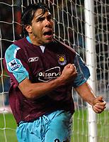 Photo: Paul Greenwood.<br />Blackburn Rovers v West Ham United. The Barclays Premiership. 17/03/2007.<br />West Ham's Carlos Tevez celebrates scoring
