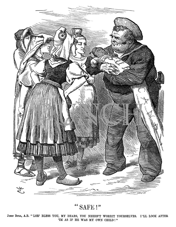 """Safe!"" John Bull, AB. ""Lor' bless you, my dears, you needn't worrit yourselves. I'll look after 'Im as if he was my own child!"""