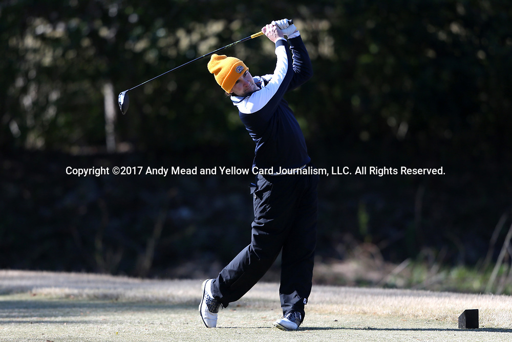 WILMINGTON, NC - MARCH 19: Kent State's Josh Whalen (CAN) tees off on the Ocean Course fifth hole. The first round of the 2017 Seahawk Intercollegiate Men's Golf Tournament was held on March 19, 2017, at the Country Club of Landover Nicklaus Course in Wilmington, NC.