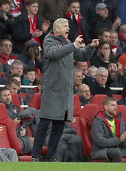 Arsenal manager Arsene Wenger gestures on the touchline during the Premier League match at the Emirates Stadium, London.