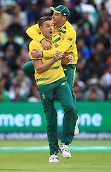 South Africa's Morne Morkel celebrates the wicket of Pakistan's Fakhar Zaman during the ICC Champions Trophy, Group B match at Edgbaston, Birmingham.