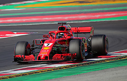 March 9, 2018 - Barcelona, Catalonia, Spain - the Ferrari of Kimi Raikkonen during the Formula 1 tests at the Barcelona-Catalunya Circuit, on 09th March 2018 in Barcelona, Spain. (Credit Image: © Joan Valls/NurPhoto via ZUMA Press)