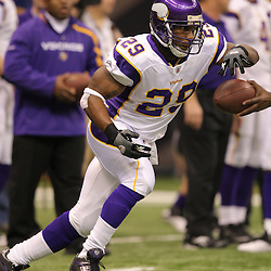 Jan 24, 2010; New Orleans, LA, USA; Minnesota Vikings running back Chester Taylor (29) on the field during warm ups before kickoff of a overtime victory by New Orleans Saints over the Minnesota Vikings in the 2010 NFC Championship game at the Louisiana Superdome. Mandatory Credit: Derick E. Hingle-US PRESSWIRE