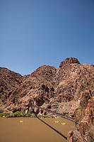 View from South Kaibab Trail bridge. Rafting the Grand Canyon. Grand Canyon National Park, AZ.