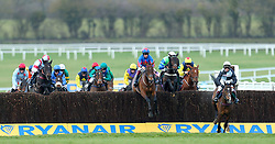 Runners and riders compete in the Brown Advisory and Merriebelle Stables Plate during St Patrick's Thursday of the 2018 Cheltenham Festival at Cheltenham Racecourse.