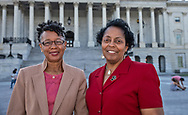 Sharon Lavinge and Barbara Washington outside of the State Capitol after attending the Congressional Convening on Environmental Justice on June 26, 2019.