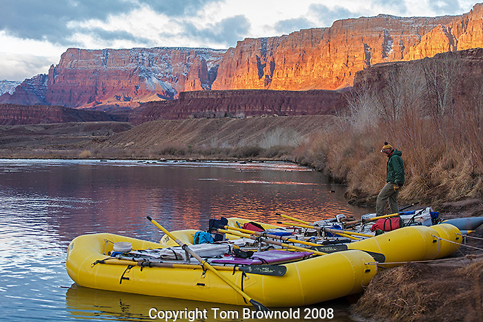"""First night's camp on a Private Grand Canyon river trip is at Lee's ferry. Before a private trip leaves the ferry they are first given a natural history orientation by the Park Service. The first mornig on the river is spent at Lee's ferry in the """"Private Boaters Camp""""."""