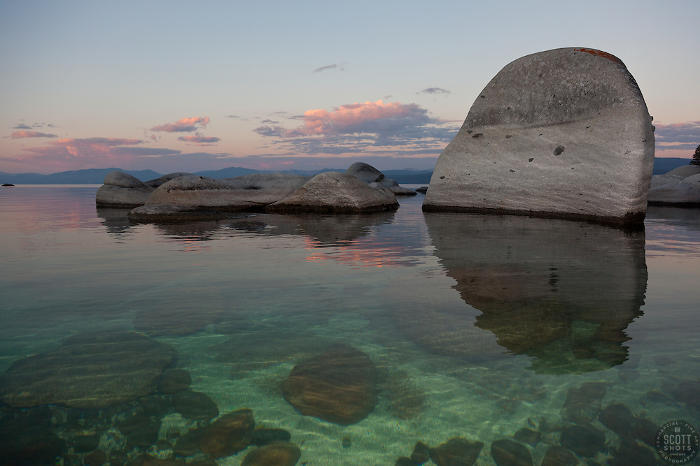 """""""Tahoe Boulders at Sunrise 5"""" - These boulders were photographed at sunrise near Speedboat Beach, Lake Tahoe."""