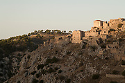 Sunset view of abandoned village buildings of Anavatos, Chios, Greece