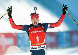 SHIPULIN Anton (RUS) celebrates after second place during Men 12,5 km Pursuit at day 3 of IBU Biathlon World Cup 2014/2015 Pokljuka, on December 20, 2014 in Rudno polje, Pokljuka, Slovenia. Photo by Vid Ponikvar / Sportida