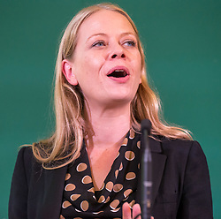 © Licensed to London News Pictures. 05/10/2018. Bristol, UK. Green Party Autumn Conference, held at Bristol City Hall. Co-leader SIAN BERRY. The key note speech by Co-leaders Sian Berry and Jonathan Bartley. Photo credit: Simon Chapman/LNP