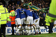 Ademola Lookman of Everton (unseen) celebrates with his teammates after scoring his teams 4th goal. Premier league match, Everton v Manchester City at Goodison Park in Liverpool, Merseyside on Sunday 15th January 2017.<br /> pic by Chris Stading, Andrew Orchard sports photography.
