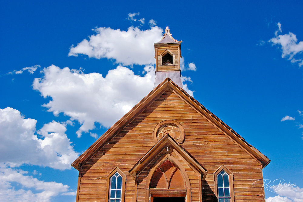 The Methodist Church under blue sky and clouds, Bodie State Historic Park (National Historic Landmark), California