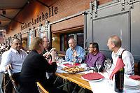"""22 AUG 2005, BERLIN/GERMANY:<br /> Guenther Uecker, Maler, Christina Weiss, SPD, Staatsministerin fuer Kultur und Medien, Wolfgang Thierse, SPD, Bundestagspraesident, Juergen Flimm, Regisseur, Guenter Grass, Autor, Klaus Staeck, Grafiker, (v.L.n.R:), waehrend der Vorbesprechung zur Diskussion zum Thema """"7 Jahre rot-gruene Kulturpolitik"""", Kulturbrauerei<br /> IMAGE: 20050822-03-012<br /> KEYWORDS: Jürgen Flimm, Günther Uecker, Günter Grass"""