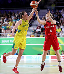 England's Georgia Jones (right) shoots in the Women's Gold Medal Game at the Gold Coast Convention and Exhibition Centre during day ten of the 2018 Commonwealth Games in the Gold Coast, Australia.