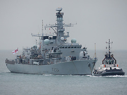 © Licensed to London News Pictures. 04/11/2016. Portsmouth, UK.  Type 23 Frigate, HMS Iron Duke returning to Portsmouth Naval Base today, on the day that the defence secretary, Michael Fallon, announced that the Type 26 shipbuilding programme of eight ships will start in summer 2017 at BAE Systems on the Clyde.  The new 'Global Combat Ship' will be a replacement to the Type 23 Duke Class, such as HMS Iron Duke. Photo credit: Rob Arnold/LNP