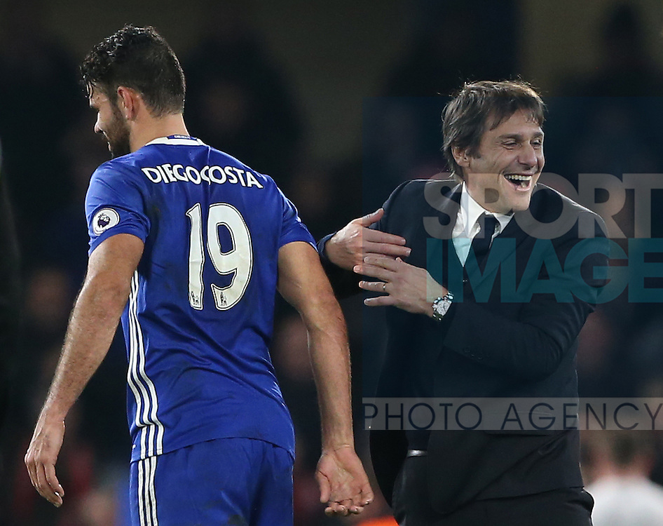 Chelsea's Antonio Conte celebrates with Diego Costa during the Premier League match at Stamford Bridge Stadium, London. Picture date December 31st, 2016 Pic David Klein/Sportimage
