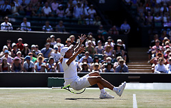 Chun Hsin Tseng celebrates winning the Boys Singles Final on day thirteen of the Wimbledon Championships at the All England Lawn Tennis and Croquet Club, Wimbledon. PRESS ASSOCIATION Photo. Picture date: Sunday July 15, 2018. See PA story TENNIS Wimbledon. Photo credit should read: Steven Paston/PA Wire. RESTRICTIONS: Editorial use only. No commercial use without prior written consent of the AELTC. Still image use only - no moving images to emulate broadcast. No superimposing or removal of sponsor/ad logos. Call +44 (0)1158 447447 for further information.