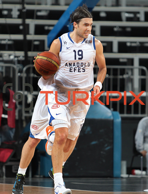 Anadolu Efes's Sasha Vujacıc during their Turkish Basketball League Play Off match Anadolu Efes between Pinar Karsiyakaat Sinan Erdem Arena in Istanbul, Turkey, Sunday, May 06, 2012. Photo by TURKPIX