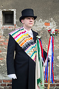 David is wearing the Traditional Sorbian Hochzeitsbitter Costume in Saspow near Cottbus, Germany on June 9, 2017.<br /> <br /> The Hochzeitsbitter is traditionally inviting the people to the wedding.