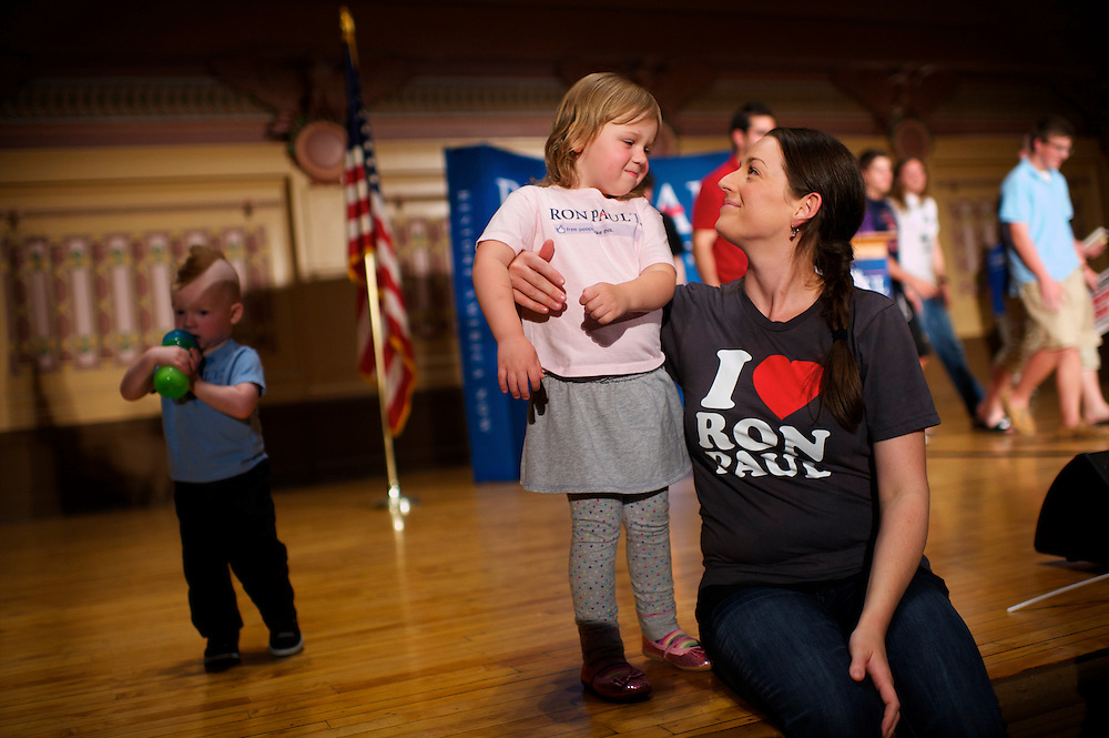 Rhett Spence, 2, and Petra, 3, brother and sister play on the stage with their mother after Congressman Ron Paul, a candidate for the Republican presidential nomination, held a 'Youth for Ron Paul' rally, at the University of Pittsburgh Soldiers and Sailors Memorial Hall, in Pittsburgh, Pennsylvania on April 20, 2012.