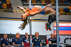 Manon Schoop in action on high jump during the Dutch Athletics Championships on 14 February 2021 in Apeldoorn