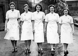 File photo dated 21/09/49 of (left to right) Barbara Jay (Uxbridge); Marina Harris (East Sheen) Lorna Coker (West Kensington); Sigrid Brewington (Thames Ditton) and Peggy Belmont, who were NHS nurse cadets who began work at Fulham Hospital under a cadet scheme initiated by the Kensington & Fulham Hospital Group.