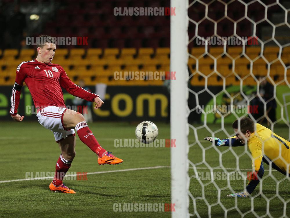 Pierre Emile Højbjerg (Danmark/Bayern München) scorer til 2-0 på riposten efter sit straffespark.