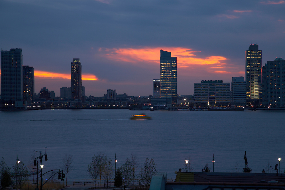 Twilight view of the Hudson River from 427 Washington Street, 4th floor