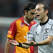 Referee's Cuneyt Cakir during their Turkish Super League soccer match Galatasaray between Kayserispor at the TT Arena at Seyrantepe in Istanbul Turkey on Saturday, 27 October 2012. Photo by TURKPIX