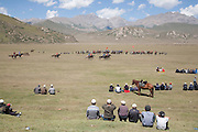 A game of team kok boru being played at a traditional Kyrgyz horse games festival. Bosogo jailoo, Naryn province, Kyrgyzstan.