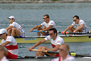 Munich, GERMANY, 02.09.2007,   A Final,GRB LM 4-, right to left, James Lindsay-Fynn, Paul MATTICK and James CLARKE, winning the Gld Medal at  the 2007 World Rowing Championships, taking place on the  Munich Olympic Regatta Course, Bavaria. [Mandatory Credit. Peter Spurrier/Intersport Images]. , Rowing Course, Olympic Regatta Rowing Course, Munich, GERMANY