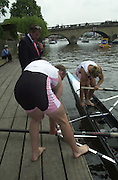 Henley, Great Britain, 2001 Henley Royal Regatta. <br /> <br /> Tel 44 (0) 7973 819 551<br /> <br /> Photo Peter Spurrier<br /> Henley Royal Regatta Fri. 6th July<br /> <br /> Grobler, Pinsent and Cracknell, racing second day Henley, and the pre race built up.<br /> <br /> Feature Sunday Express. 20010604 Henley Royal Regatta, Henley, Great Britain.