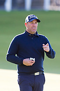 2nd October 2018, The Old Course, St Andrews, Scotland; Alfred Dunhill Links Championship, practice day; Former Australian cricketer Shane Warne on the 18th green during a practice round at the Dunhill Links Championship on The Old Course, St Andrews