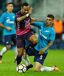 August 24, 2017 - Saint Petersburg, Russia - Leandro Paredes (R) of FC Zenit Saint Petersburg and Sean Klaiber of FC Utrecht vie for the ball during the UEFA Europa League play-off round second leg match between FC Zenit St. Petersburg and FC Utrecht at Saint Petersburg Stadium on August 24, 2017 in Saint Petersburg, Russia. (Credit Image: © Mike Kireev/NurPhoto via ZUMA Press)