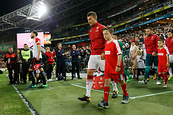 July 15, 2017 - Sydney, New South Wales, Australia - Arsenal captain Robert Comthwaite (front) and Sydney FC captain Laurent Koscielny (back) walk to the field..FA Cup Champions Arsenal wins 3-1 over Western Sydney Wanderers FC at ANZ Stadium. (Credit Image: © United Images/Pacific Press via ZUMA Wire)