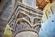 Romanesque column capital in the 8th century Romanesque Basilica church of St Peters, Tuscania, Lazio, Italy .<br /> <br /> Visit our ITALY PHOTO COLLECTION for more   photos of Italy to download or buy as prints https://funkystock.photoshelter.com/gallery-collection/2b-Pictures-Images-of-Italy-Photos-of-Italian-Historic-Landmark-Sites/C0000qxA2zGFjd_k