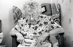 Elderly woman in residential home, Ashfield, Nottinghamshire, UK 1986