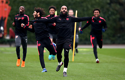 Arsenal's Alexandre Lacazette during the training session at London Colney, Hertfordshire.