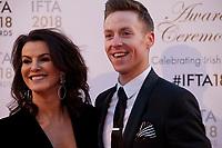 Deirdre O'Kane, host, and John Edward Nolan at the IFTA Film & Drama Awards (The Irish Film & Television Academy) at the Mansion House in Dublin, Ireland, Thursday 15th February 2018. Photographer: Doreen Kennedy
