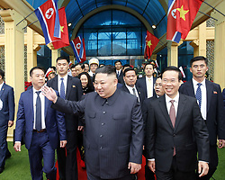 Feb. 26, 2019 - Hanoi, Vietnam - Top leader of the Democratic People's Republic of Korea (DPRK) KIM JONG UN (C) arrives at Dong Dang railway station in Lang Son Province, Vietnam, on Feb. 26, 2019. Kim arrived in Vietnam Tuesday morning by train for his first official visit to the country and the second summit with U.S. President Donald Trump, Vietnam News Agency reported. (Credit Image: © Nhan Hau Sang/Xinhua via ZUMA Wire)
