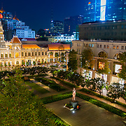 Ho Chi Minh Statue And City Hall At Night
