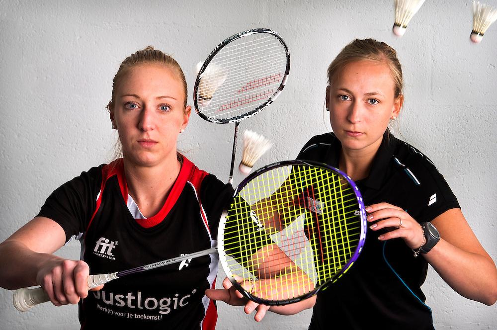 Nederland, Papendal, 29-04-2015.<br /> Badminton, Dubbel, Vrouwen.<br /> Eefje Muskens ( links ) en Selena Piek, badminton dubbel.<br /> Foto : Klaas Jan van der Weij