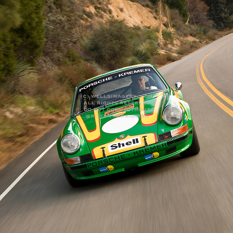 Image of a 1972 Porsche 911T/ST Kremer Recreation in California, American west coast, model and property released
