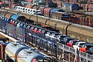 railroad shunting yard in Hagen-Vorhalle, freight trains with brand new Opel cars, Hagen, North Rhine-Westphalia, Germany.<br /> <br /> Eisenbahn-Rangierbahnhof in Hagen-Vorhalle, Gueterzuege mit fabrikneuen Autos der Marke Opel, Hagen, Nordrhein-Westfalen, Deutschland.
