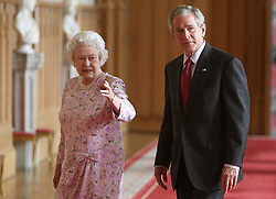 Britain's Queen Elizabeth II with the US President George Bush in the St George's Hall, Windsor Castle.